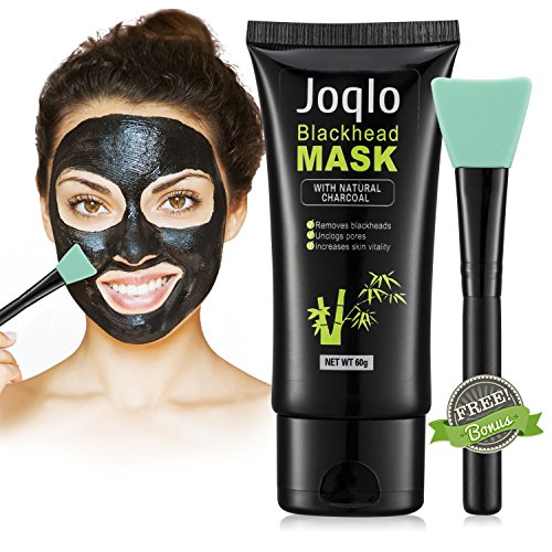 Joqlo Blackhead Remover Mask,60g Charcoal Deep Cleansing Peel-off Black Mask for for Acne and Blemishes, Strawberry Nose. Activated Peel-off Black Mask with Mask Applicator Brush (Remover Makeup Strawberry)