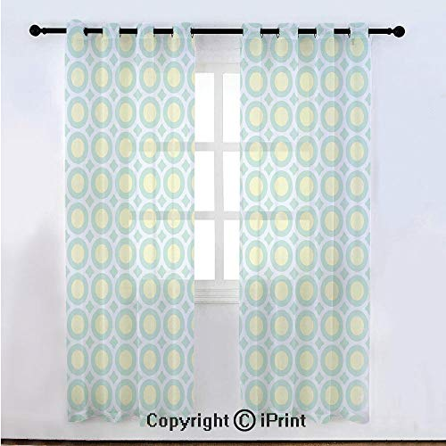 Sheer 1970s Semi - Aqua Semi Sheer Voile Window Curtain With Drapes Grommet,Retro Circles Inner Dots 60s 70s Inspired Horizontal Artwork Decorative,for Bedroom,Living Room & Kids Room(108