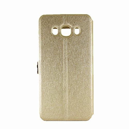 Carcasas y fundas Móviles, Color sólido PU cuero con soporte doble ventana abierta Patrón de seda funda protectora para Samsung Galaxy J7 2016 (Responda o rechace llamadas sin abrir la tapa) ( Color : Gold