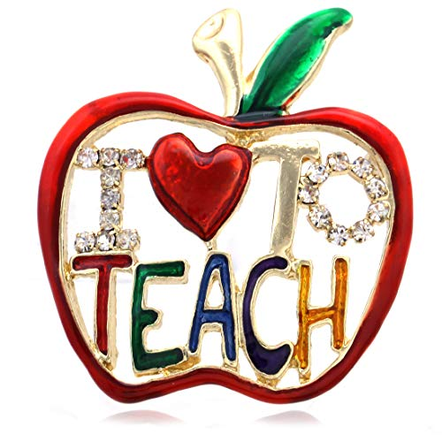 - Soulbreezecollection Teacher Appreciation Thank You Gift Red Apple Fruit Brooch Pin (Red 2)