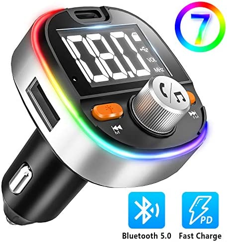 Hands-Free Calling Support USB Drive//TF Card and Siri Google Assistant 7-Colors LED Backlit Heavy Bass 5.0 Bluetooth FM Transmitter for Car Type-C PD3.0 18W Bluetooth Car Adapter