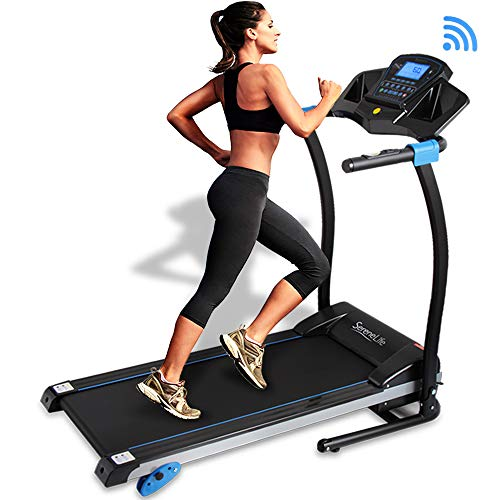 (SereneLife Smart Digital Folding Treadmill - Upgraded Electric Foldable Exercise Machine, Large Running Surface, 3 Manual Incline, 16 Preset Program, with Downloadable Sports App for Running & Walking)
