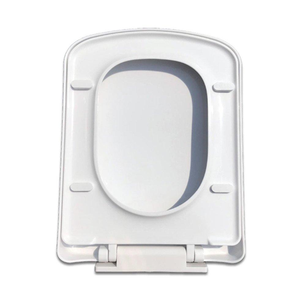 Universal Toilettensitz Quadratisch Toilette Verlangsamen Leise Abdeckung Antibakteriell,Weiß