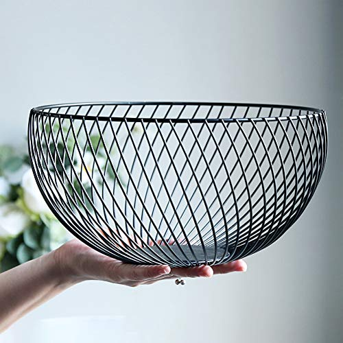 (Wire Fruit Basket, Round Black Metal Fruit Vegetable, Egg, Bread Storage Bowl Holder Stand for Kitchen Counter, Cabinet and Pantry)