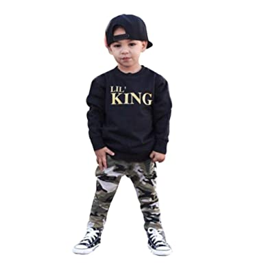 08ed83c3d DIGOOD Toddler Kids Baby Boy Letter T Shirt Tops+Camouflage Pants Outfits  Clothes Set (