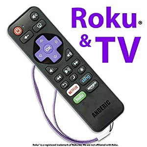 """Made for Roku Streaming Players"" and Programmable Volume/Power Keys for TVs - Universal 2-in-1 Remote Control with Learning (NOT suggested for Roku-enabled TVs) - Roku Universal Remote"