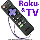 Anderic RRST01 Standard IR Roku Universal 2-in-1 Remote Control with Learning - Works for Roku + TV with Volume/Power Keys for TVs [NOT for ROKU STICKS/Roku-enabled TVs] - Roku Universal