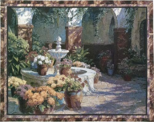 La Fuente Seca by J. Chris Morel | Woven Tapestry Wall Art Hanging | Tuscan Floral Fountain Classic Courtyard Artwork | 100% Cotton USA Size 53x40