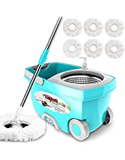 Tsmine 360 Spin Mop with Stainless Steel Bucket System