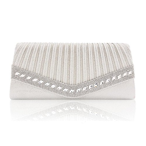 Cocktail Clutch Elegant Flap White Rhinestone Women Damara Glitter qx8wWU6cX