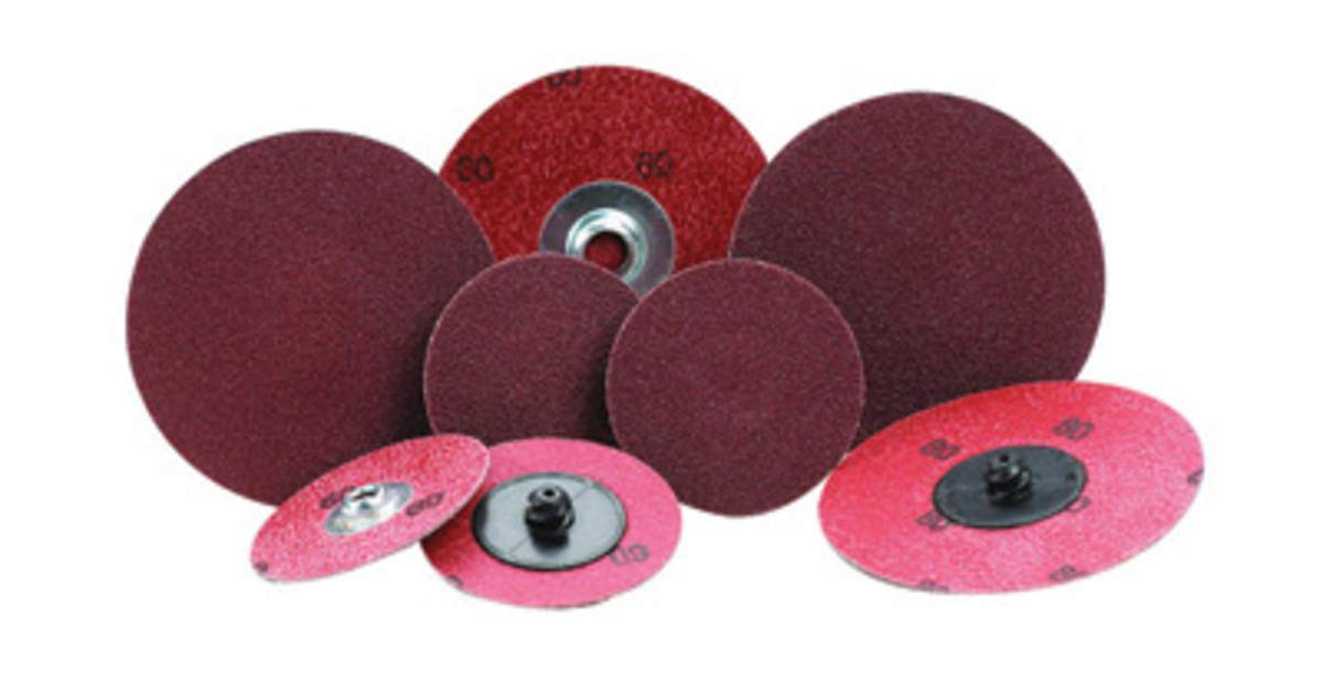 Merit 2'' X 2-Ply 80 Grit Medium Grade Aluminum Oxide Powerlock TR (Type III) Quick Change Coated Cloth Disc by Merit Abrasives Products Inc