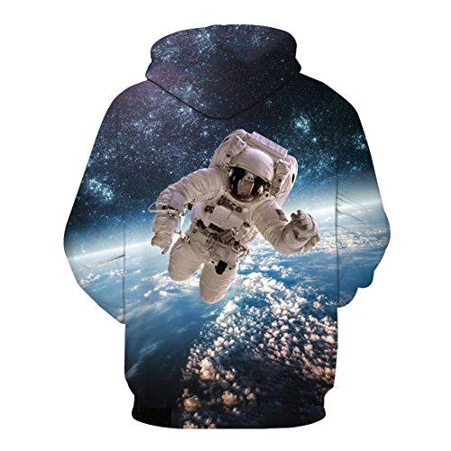 Top Cosmonaute Polyester shirt Veste Imprimé Capuche Blouse Acvip Style Homme 3 Femme À Sweat wvYn8xaCqP
