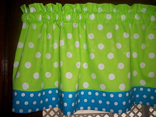 Lime Green Turquoise Polka-Dot fabric window topper curtain Valance 13