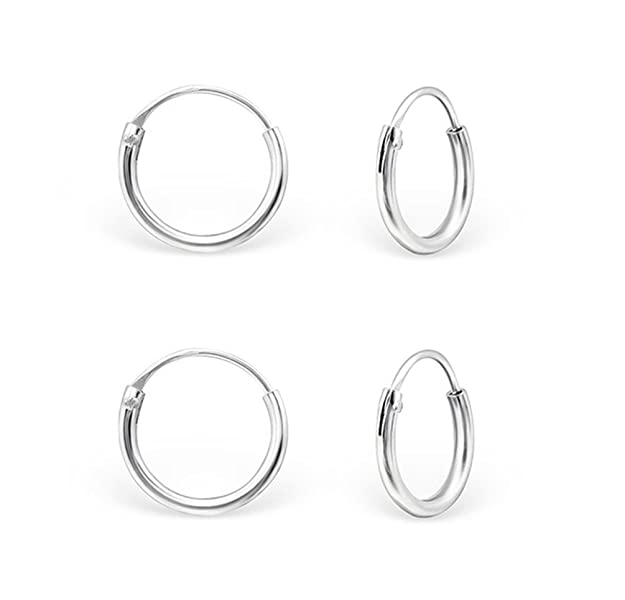 DTPSilver - 925 Sterling Silver Small Square Hoops Earrings - Set of 2 Pairs - Thickness 2 mm - Diameter 10 and 12 mm 59pqejsf1