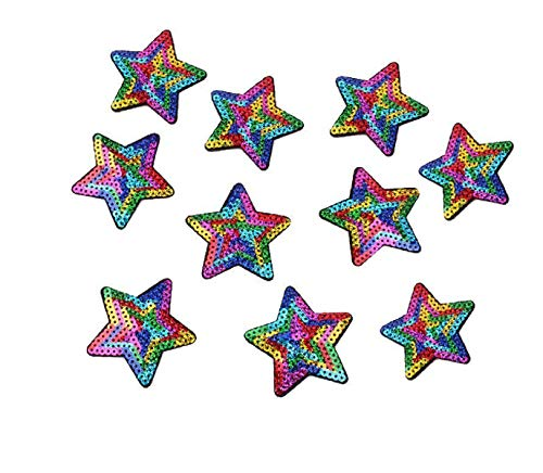 (Yalulu 10pcs/lot Sequined Star Patch Iron On Sew On Star Appliques Embroidered Patches for Clothing Trousers Bags Stickers Sewing Accessories)