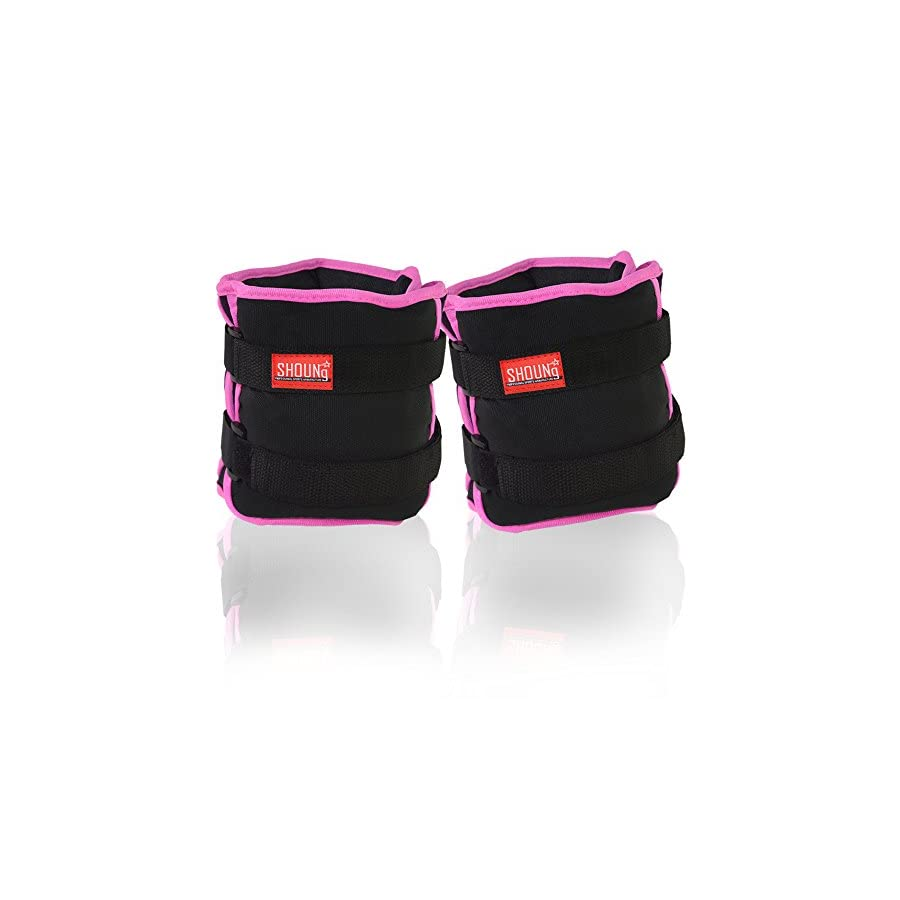 SHOUNg Personalised Ankle Weights/Wrist Weights (1 Pair) with Adjustable Strap for Fitness, Workout, Exercise, Walking, Jogging, Gymnastics, Aerobics and Gym(Black, 10lbs)