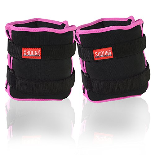 SHOUNg Personalised Ankle / Wrist Weights with Adjustable Strap and Weight (Black, 10lbs)