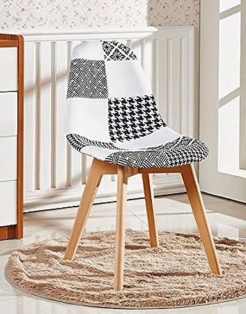 P&N Homewares Fabia Esszimmerstuhl Schwarz-Weiß Patchwork Stühle ...