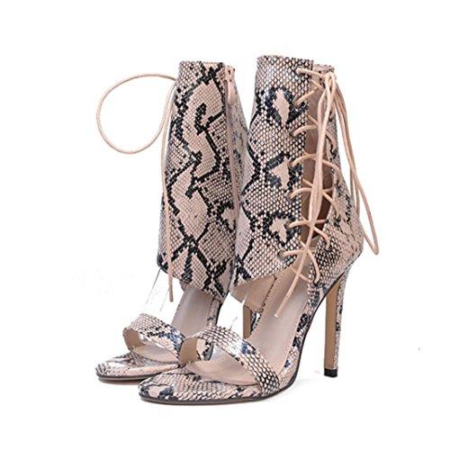 Upxiang Damen Knöchelriemen Sandalen, Frauen Sexy High Heels, Riemchensandalen, Römische Schnalle Schuhe, Frau Stiefeletten Sandalen 36
