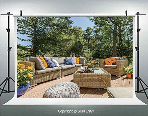 (Background Summer Town House Terrace Balcony with Trees Image 3D Backdrops for Interior Decoration Photo Studio Props)