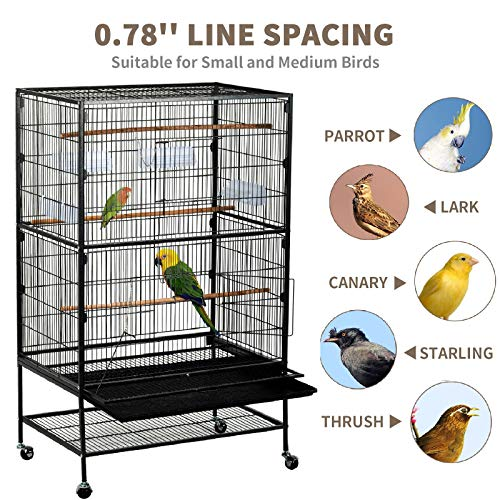 SUNCOO 53 inches Large Bird Cage Wrought Iron Heavy Duty Flight Cage for Parrot Budgie Parakeet Cockatoo Cocatiel with Wooden Perch Storage Shelf Rolling Stand Wheels, Bird Aviary Cage Black ()