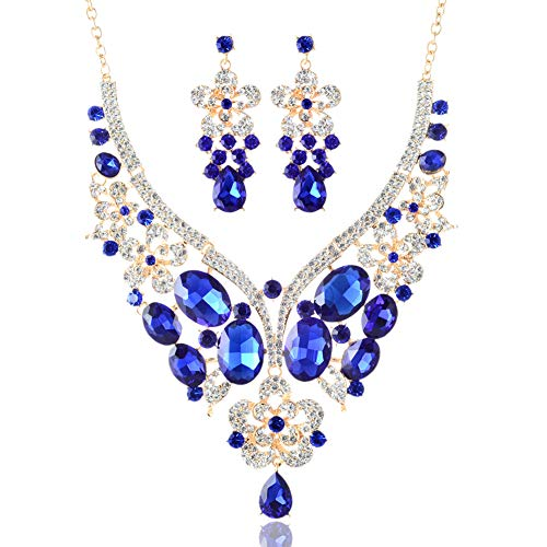 LAN PALACE African Jewelry Sets 18k Gold Glass Rhinestone Necklace and Earrings for Wedding (Royal ()