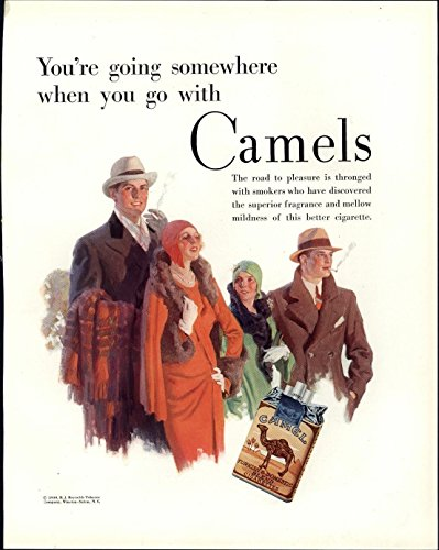Camel Cigarettes smoking Art Deco stylish 1930 Fortune vintage advertising print