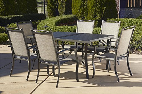 Cosco Outdoor 7 Piece Serene Ridge Aluminum Patio Dining Set, Dark Brown (Dining Patio Sets Clearance)