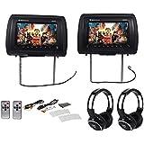 Rockville RHP91-BK 9 Digital Panel Black Headrest Monitors+Wireless Headphones