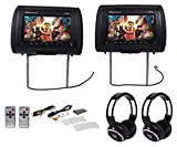 Rockville RHP91-BK 9 Digital Panel Black Headrest Monitors+Wireless Headphones For Sale
