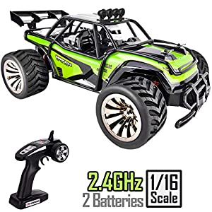 Rainbrace Remote Control Truck, RC Car Off Road for Kids 2WD 24KMH 1/16 Desert Buggy Vehicle 2.4G Radio Control - 2 Rechargeable Batteries High Speed Race Truck Rock Crawler