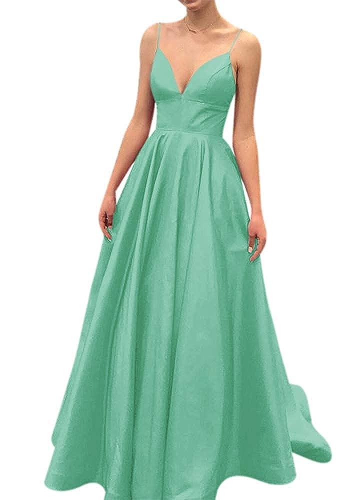 Mint Fanciest Women's Spaghetti Straps 2019 Satin Prom Dresses Long Formal Evening Gowns