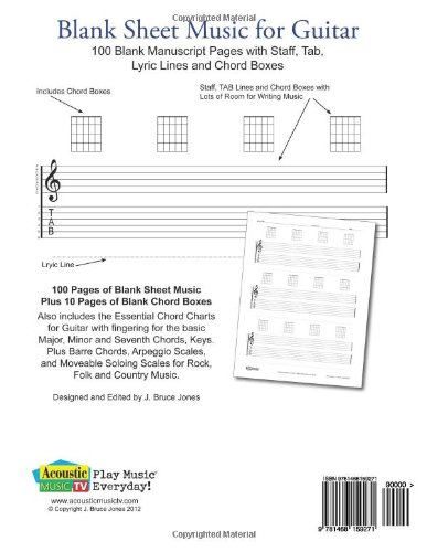Amazon.com: Blank Sheet Music For Guitar: 100 Blank Manuscript Pages With  Staff, TAB, Lyric Lines And Chord Boxes (9781468159271): J. Bruce Jones:  Books