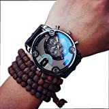 Creazy® New Fashion Mens England Big Dial Style Wrist Watch (Black) Rating