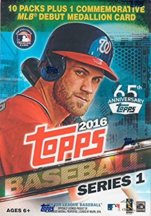 Topps 2016 Series 1 Mlb Baseball Exclusive Factory Sealed Retail Box With 10 Packs 101 Cards And Mlb Debut Commemorative Medallion Card