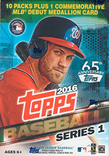 2016 Topps MLB Baseball Series #1 Unopened Blaster Box with One Exclusive MLB Debut Commemorative Medallion Card and 10 Packs of 10 Cards ()