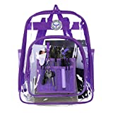 Bagail Clear See Through Backpack Heavy Duty Transparent Daypack Student School Bookback (purple)