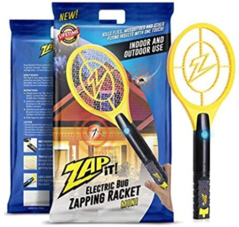 ZAP IT! Mini Bug Zapper - Mosquito Recargable, Fly Killer y Bug Zapper Racket - 4.000 voltios - Carga USB, luz LED súper Brillante para Zap in The Dark - Safe to Touch: Amazon.es: Jardín