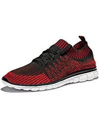 Men's Knitted Mesh Running Shoes With Breathable Mesh Upper and Rubber Sole
