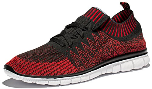 Ruash erd Men's Casual Running Shoes (8 D (M) US, Red and Black)