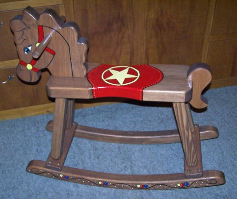 THE PUZZLE-MAN TOYS W-2203 Wooden Rocking Horse - Stained And Oiled Hand Painted Design