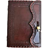 """Prastara 10"""" Large Genuine Leather Journal Vintage Antique Style Organizer Blank Notebook Daily Journal Personal Diary Useful for Men Women"""