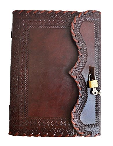 "10"" large Genuine Leather Journal Vintage Antique Style Organizer Blank Notebook Secret Diary Daily Journal Personal Diary"