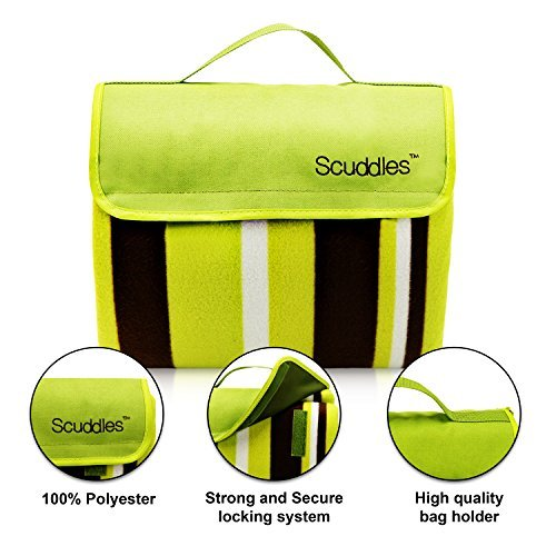 Scuddles Extra Large 60 X 79 INCH Picnic & Outdoor Blanket Dual Layers For Outdoor Water-Resistant Handy Mat Tote Spring Summer Striped Great for the Beach,Camping on Grass Waterproof