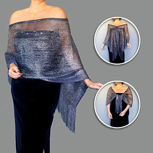 Plus Size Metallic Navy Stole Semi Sheer Fishnet Wedding Wrap By ZiiCi