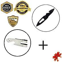 MeanHoo Field Cricket Free Lock Utility Emergency Folding Pocket Knife Blade Survival Tools & Keychain Clip - 5 in 1 Stainless Steel Multi Purpose Tool Belt Key Chain Money Clip Bottle Opener Sets