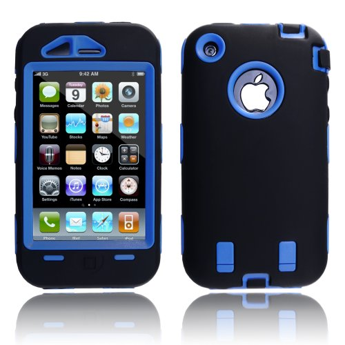with Soft Skin Rubber Silicone Cover for Iphone 3g 3gs Black/Blue ()