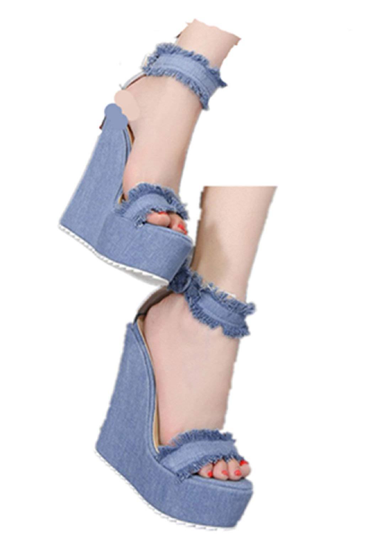 Womens High Heel Canvas Sandals Dress Shoes Denim Open Toe Wedges Platform Shoes Buckle Party Sandals by Gyouanime by Gyouanime Sandals