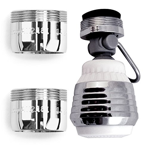 Water Saver Faucet Aerator - PF WaterWorks HydroSAVER Water Sense Listed Aerator Combo - Swivel Dual Spray Kitchen Aerator with Pause Lever, 2 Dual Thread Bath Aerator; PF0562