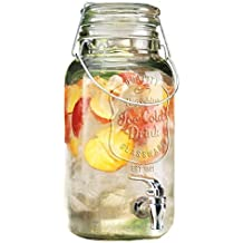 Home Essentials & Beyond Del Sol Impressions Ice Cold Beverage Dispenser Jug 1 Gallon Clear Bail & Trigger With Locking Clamp Drink Dispenser With Easy Flow Spigot Clear For Picnics Parties B